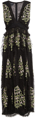 Giambattista Valli Grosgrain-trimmed Ruffled Embroidered Lace Midi Dress