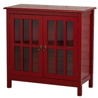 Beachcrest Home Purdue with Wooden Top 2 Door Accent Cabinet Color: Red