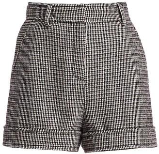 Maje Igor High-Rise Houndstooth Wool-Blend Shorts