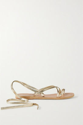 Ancient Greek Sandals Morfi Metallic Leather Sandals - Gold
