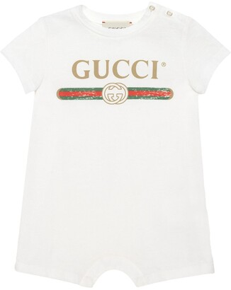 Gucci Kids Baby sleepsuit with Gucci logo