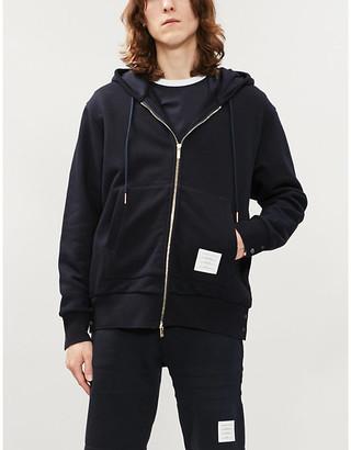 Thom Browne Striped-trim cotton-jersey hoody