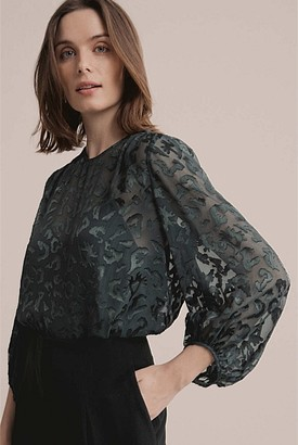 Witchery Burnout Balloon Sleeve Blouse
