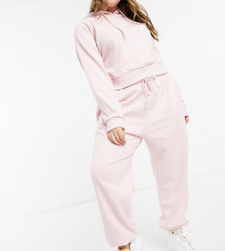 Wednesday's Girl Curve relaxed trackies with heart embroidery in light pink co