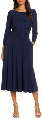 Julia Jordan Solid 3/4 Sleeve Tie Waist Midi Dress
