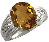 Gem Stone King 4.30 Ct Oval Quartz 18k White Gold Ring