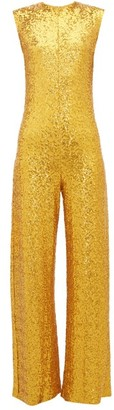 Norma Kamali Wide-leg Sequin Embellished Jumpsuit - Womens - Gold