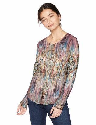 One World ONEWORLD Women's Petite Long Sleeve Printed Top with Bling