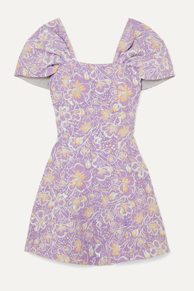 Rotate by Birger Christensen Petra Off-the-shoulder Floral-jacquard Mini Dress - Lilac
