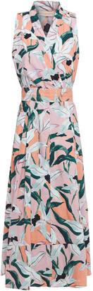 Tory Burch Pleated Floral-print Cotton-poplin Midi Wrap Dress
