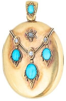 Stephanie Windsor Vintage 18K Yellow Gold, Persian Turquoise & Diamond Antique French Locket