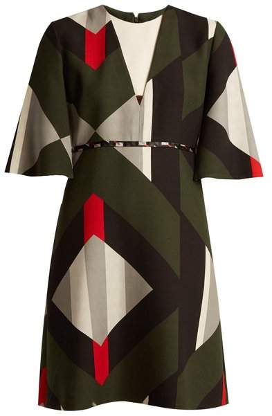 Fendi Lozenges Print Fluted Sleeved Wool Blend Dress - Womens - Black Multi
