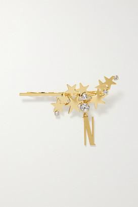 LELET NY Modern Stars Alphabet Gold-tone Crystal Hair Slide - A