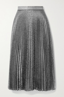 Christopher Kane Pleated Metallic Lame Midi Skirt
