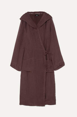 SU Paris - Koaci Linen-blend Hooded Robe - Plum
