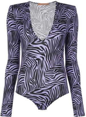 Andamane Structured-Shoulder Tiger-Print Bodysuit