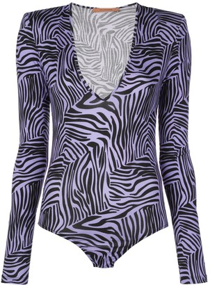 Andamane Structured-Shoulder Tiger-Print Bodysuit