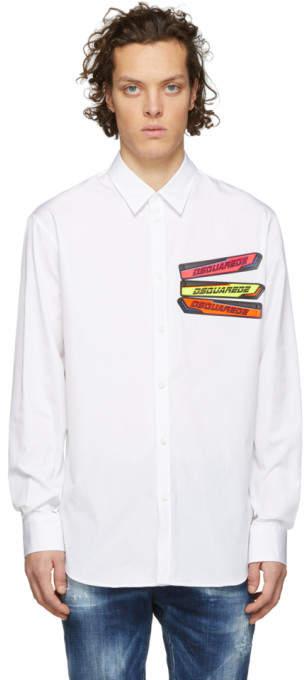 DSQUARED2 White Poplin Relaxed Dan Shirt