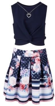 Beautees Big Girls Plus 2-Pc. Twist-Knot Top & Printed Skater Skirt Set