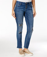 Ariya Juniors' Ripped Patch Medium Wash Boyfriend Jeans