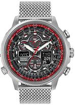 Citizen Jy8039-54e Raf Limited Edition Red Arrows Navihawk A.t Chronograph Bracelet Strap Watch, Silver/black