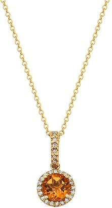 Effy 14K Yellow Gold, Citrine & Diamond Pendant Necklace