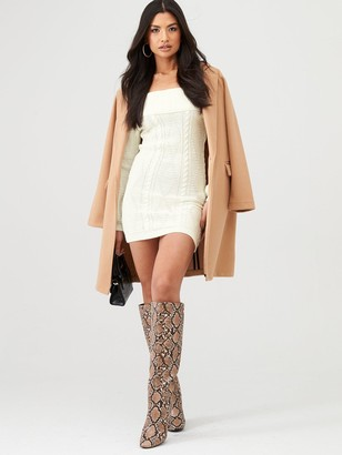 Bardot In The Style X Billie Faiers Cable Knit Mini Dress - Cream