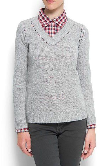 MANGO Lurex open work sweater