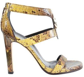 Gucci Yellow Snakeskin Heel Sandals Size 36