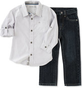 Calvin Klein Baby Boys' 2-Pc. Striped Shirt & Jeans Set