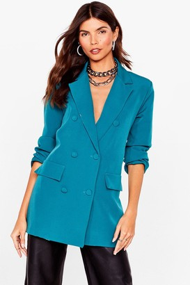 Nasty Gal Womens Mind Your Business Double Breasted Blazer - Teal