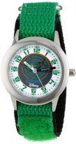 """Disney Kids' W000885 """"Time Teacher"""" Planes Fire & Rescue Stainless Steel Watch With Green Nylon Band"""