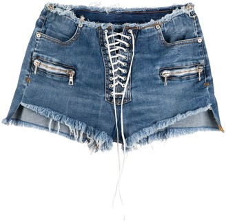 Unravel Project Lace-Up Denim Shorts