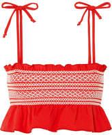 Lisa Marie Fernandez Selena Smocked Stretch-crepe Bikini Top - Tomato red