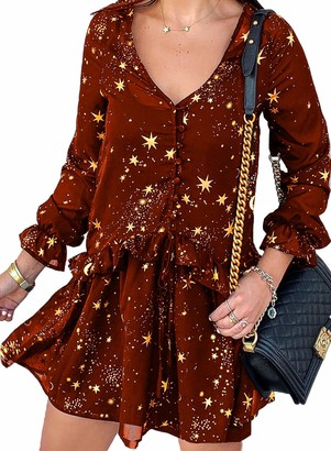 LOSRLY Womens Casual Sexy Mini Dress Summer V Neck Stars Print Button Down Ruffle Short Dress Black
