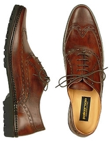 Pakerson Men's Dark Brown Italian Hand Made Leather Wingtip Oxford Shoes