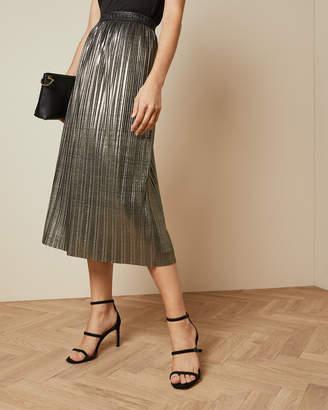 Ted Baker GRETTA Metallic pleated midi skirt