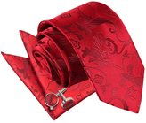DQT Premium Passion Men's 9cm Tie, Hanky & Cufflinks 3pc Set