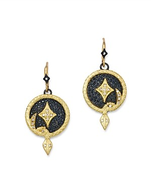 Armenta 18K Yellow Gold & Blackened Sterling Silver Old World Champagne Diamond Serpent Disc Drop Earrings