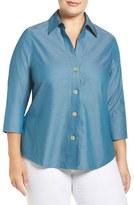 Foxcroft Plus Size Women's 'Paige' Non-Iron Cotton Shirt
