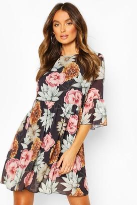 boohoo Chiffon Large Floral Print Smock Dress