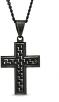 Zales Men's Black Carbon Fiber Cross Pendant in Black Ion-Plated Stainless Steel - 24""