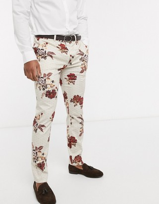 Topman skinny suit trousers in floral print