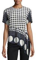 Diane von Furstenberg Striped Silk Asymmetric T-Shirt, Multicolor