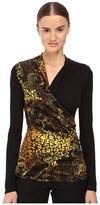 Versace Long Sleeve Printed Wrap Top Women's Clothing