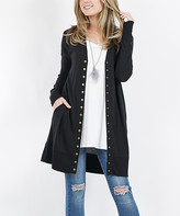 42pops 42POPS Women's Open Cardigans BLACK - Black Long-Sleeve Snap-Button Cardigan - Women