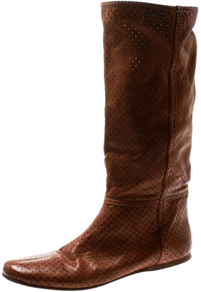 Prada Sport Brown Perforated Leather Mid Calf Flat Boots Size 39