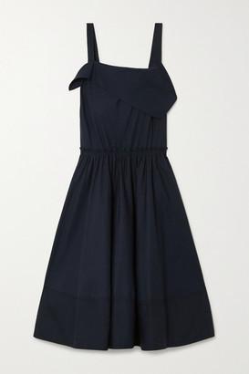 Proenza Schouler White Label Draped Cotton-poplin Midi Dress - Navy