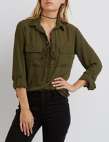 Charlotte Russe Lace-Up Collared Shirt