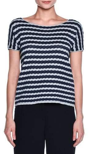 Giorgio Armani Wave-Stripe Scoop-Neck Tee, Navy/Gray